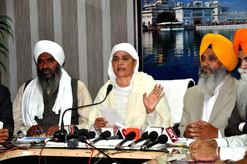 Newly appointed Shiromani Gurdwara Parbandhak Committee President Bibi Jagir Kaur addresses a press conference, in Amritsar on Dec 4, 2020. - Bibi Jagir Kaur