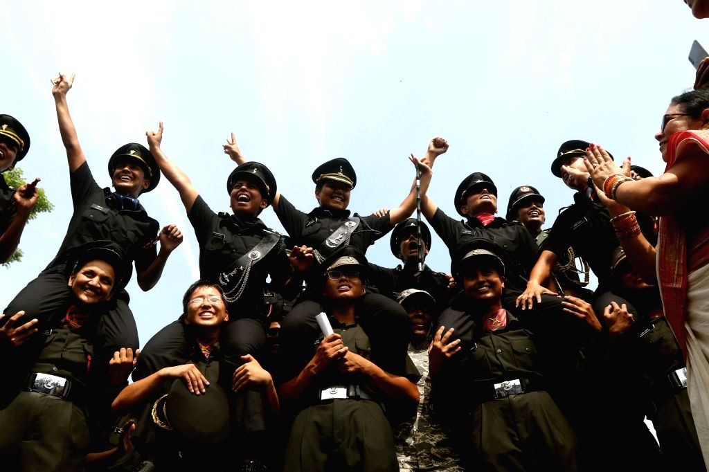 Newly commissioned officers celebrate during their Passing Out Parade at Officers Training Academy (OTA) in Chennai on Sep 7, 2019.