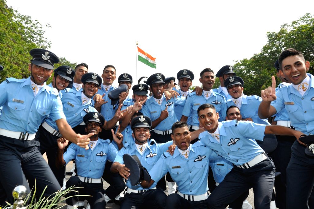 Newly commissioned officers in a jubilant mood after the Combined Graduation Parade at Air Force Academy at Dundigal in Hyderabad on June 17, 2017.