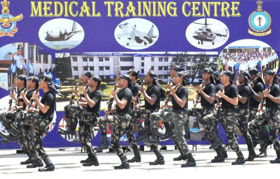 Newly commissioned officers march during their Passing Out Parade at Medical Training Centre, Air Force, in Bengaluru on June 30, 2017.