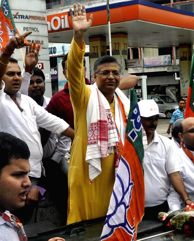 Newly elected Assam State BJP President Siddhartha Bhattacharjee with his supporters in Guwahati on Aug 17, 2014.