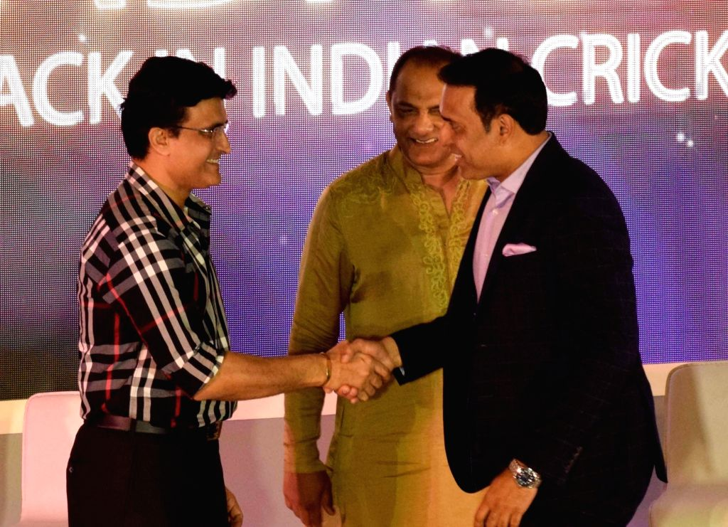 Newly-elected BCCI president Sourav Ganguly, former India cricketers VVS Laxman and Mohammed Azharuddin during a felicitation programme organised by Cricket Association of Bengal (CAB) in ... - Sourav Ganguly and Azharuddin