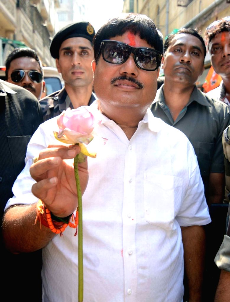 Newly elected BJP MP from Barrackpore, Arjun Singh arrives at a felicitation programme at the West Bengal party headquarters in Kolkata on May 24, 2019. - Arjun Singh