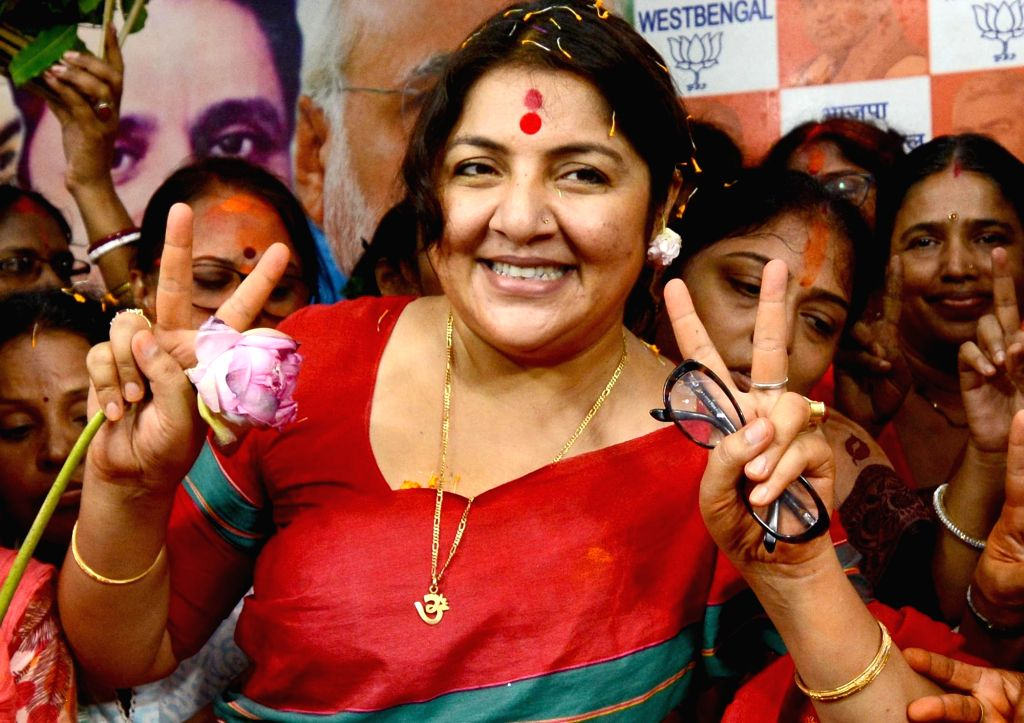 Newly elected BJP MP from Hooghly, Locket Chatterjee during a felicitation programme at the state party headquarters in Kolkata, on May 24, 2019. - Chatterjee