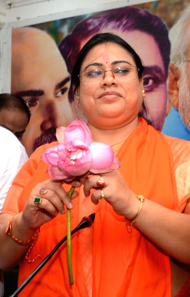 Newly elected BJP MP from North Dinajpur, Debashree Chowdhury during a felicitation programme at the West Bengal party headquarters in Kolkata on May 24, 2019.