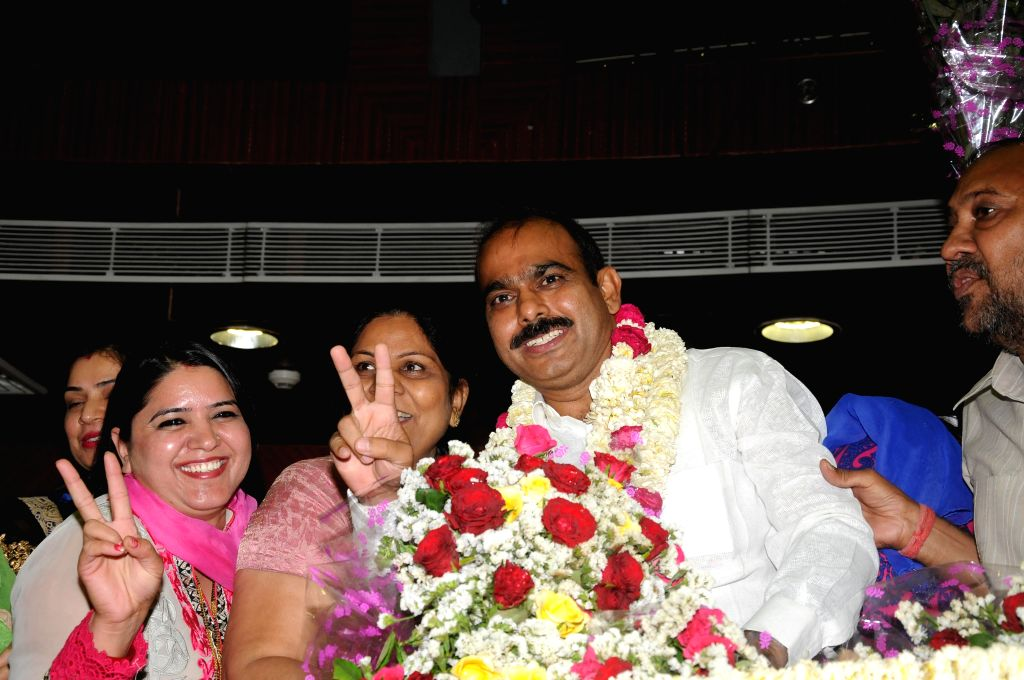 Newly elected deputy mayor of South Delhi Municipal Corporation Praveen Rana at Civic Center in New Delhi on April 29, 2014.