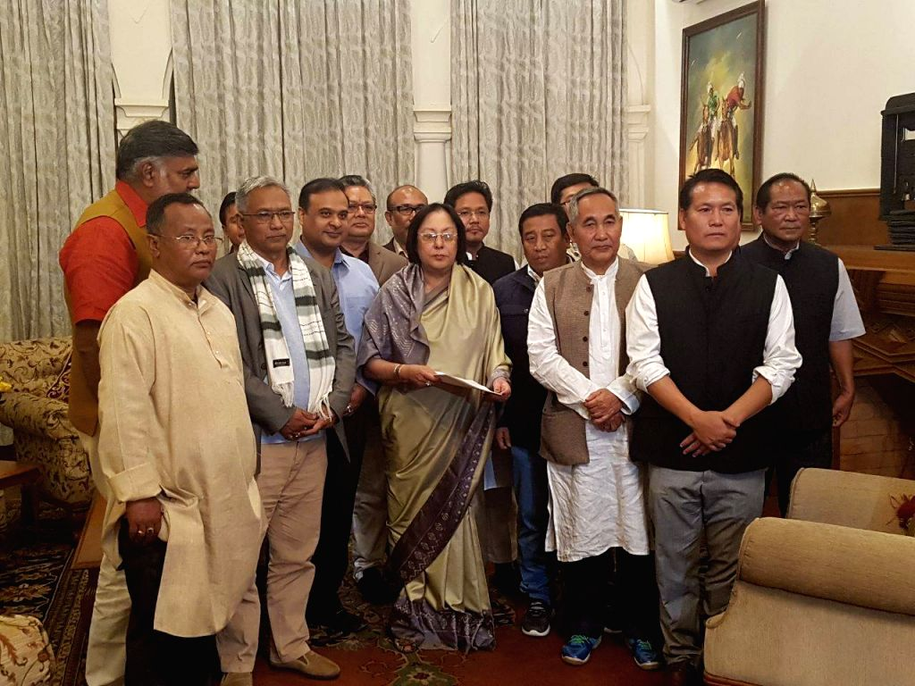Newly elected Manipur BJP MLAs meet Governor Najma Heptulla at Governor House in Imphal, Manipur on March 13, 2017. - Najma Heptulla