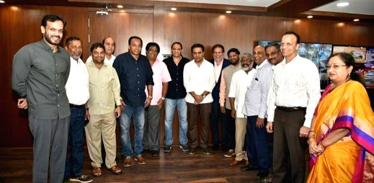 Newly elected members of Hyderabad Cricket Association (HCA) led by Former India captain and HCA President Mohd Azharuddin meets Telangana Minister KT Rama Rao, in Hyderabad on Sep 28, ... - K, Mohd Azharuddin and Rao