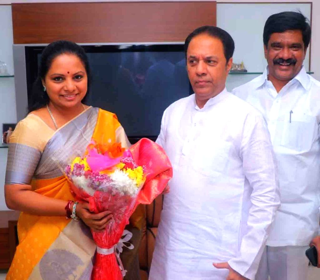 Newly elected Rajya Sabha member Suresh Reddy greets former MP Nizamabad K Kavitha as TRS MLC candidate, on March 19, 2020. - Suresh Reddy