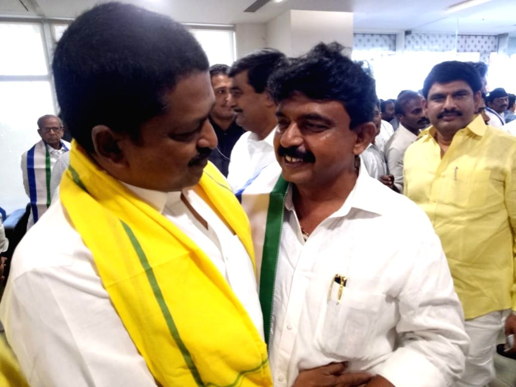 Newly elected TDP MLAs arrive at the first session of new Andhra Pradesh Assembly, in Amaravati on June 12, 2019.