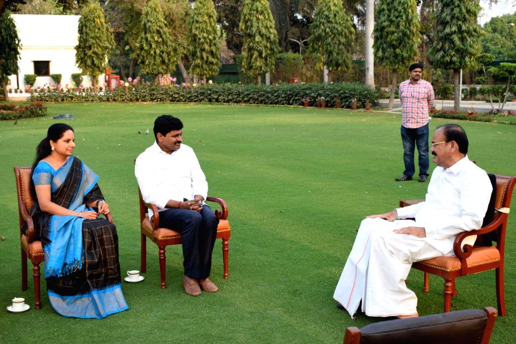 Newly elected Telangana Rashtra Samithi (TRS) Rajya Sabha member Joginipally Santosh Kumar and party MP K. Kavitha call on Vice President M. Venkaiah Naidu in New Delhi on April 3, 2018. - M. Venkaiah Naidu and Joginipally Santosh Kumar