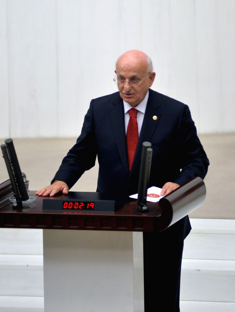 Newly elected Turkish parliament speaker Ismail Kahraman delivers a speech in Ankara, Turkey, on Nov. 22, 2015. A member of Turkey's Ruling Justice and Development ... - Ismail Kahraman