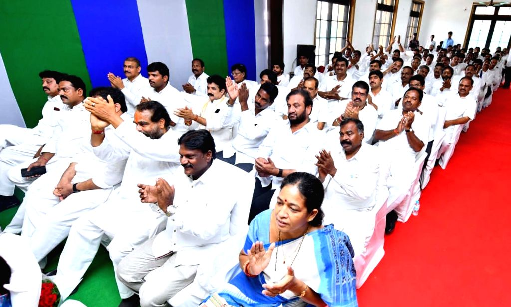 Newly elected YSRCP MPs and MLAs at YSRC Legislature Party meeting at party president Y.S. Jagan Mohan Reddy's residence in Tadepalli, Andhra Pradesh on May 25, 2019.