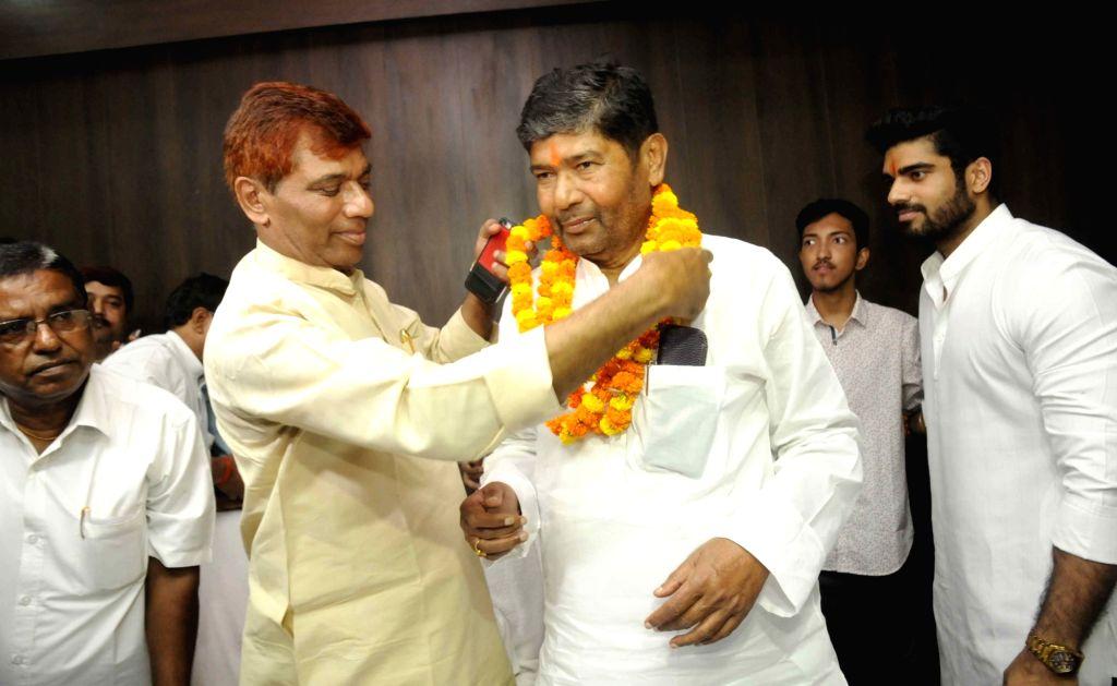 Newly inducted Bihar's Animal Husbandry Minister Pashupati Kumar Paras assumes office in Patna on July 31, 2017. - Pashupati Kumar Paras