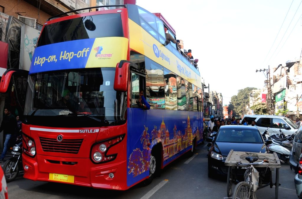 Newly launched double-decker bus in Amritsar, on Nov 28, 2016.