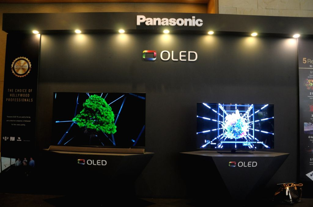 Newly launched Panasonic OLED TVs on display, at the launch of OLED TV series in India; in New Delhi on July 25, 2018. Panasonic India on Wednesday announced its debut in the OLED TV ...