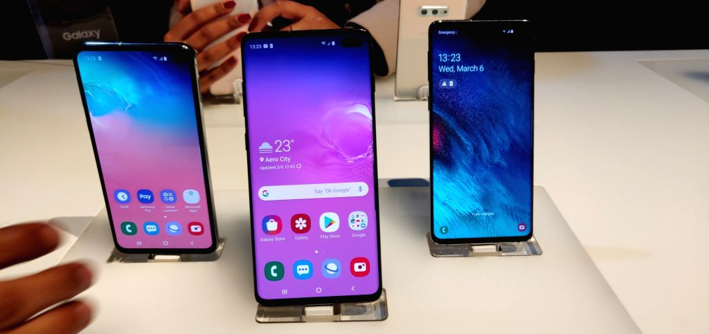 Newly launched Samsung Galaxy S10, S10+ and S10e smartphones in New Delhi, on March 6, 2019.