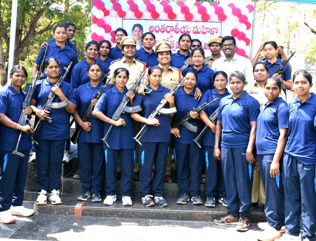 Newly launched women armed police squad of Telangana, on International Women's Day in Karimnagar, Telangana, on March 8, 2019.