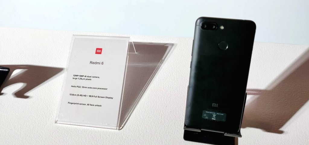 Newly launched Xiaomi Redmi 6 smartphone, in New Delhi, on Sept 5, 2018. Also launched Xiaomi Redmi 6A and Redmi 6 Pro smartphone.