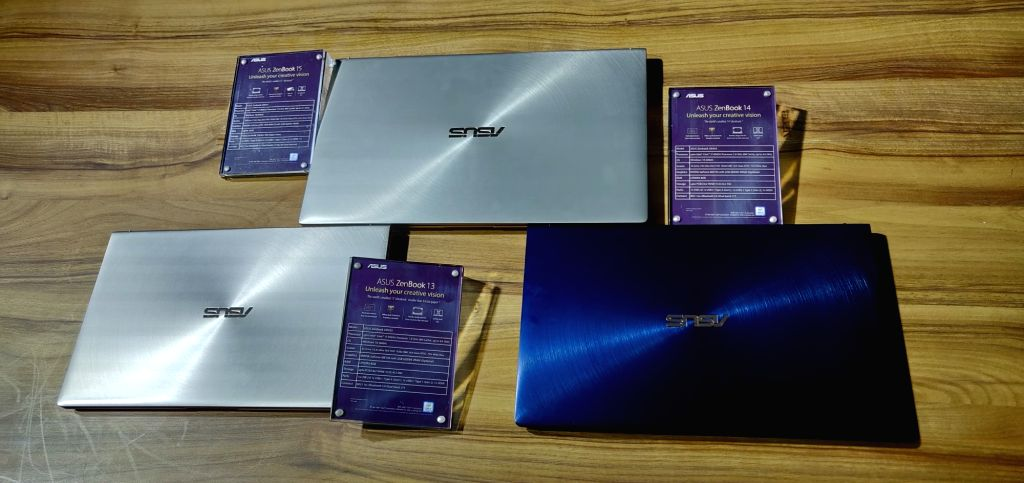 Newly launched ZenBook 13, ZenBook 14 and ZenBook 15 laptops, in New Delhi on Jan 30, 2019.