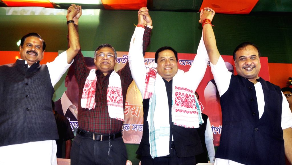 Newly selected BJP state president and Union minister of state (Independent charge ) Sarbananda Sonowal, former BJP state president Siddhartha Bhattacharjee, former minister Himanta Biswa ... - Himanta Biswa Sarma