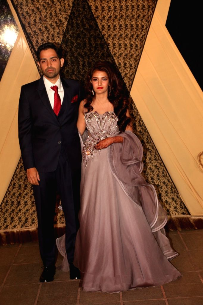 Newly-weds Sakshi Bhatt and Mazahir at their wedding reception in Mumbai, on 25, 2019.