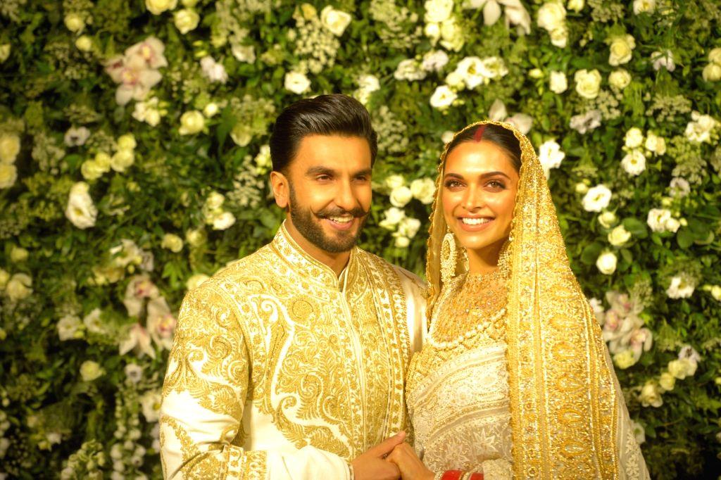Newlywed actors Deepika Padukone and Ranveer Singh at their wedding reception at Grand Hyatt in Mumbai on Nov 28, 2018. - Deepika Padukone and Ranveer Singh