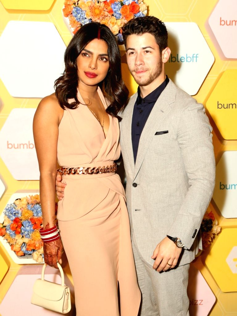 Newlyweds Priyanka Chopra and Nick Jonas during the launch party of her new project dating app Bumble in New Delhi on Dec 5, 2018. - Priyanka Chopra