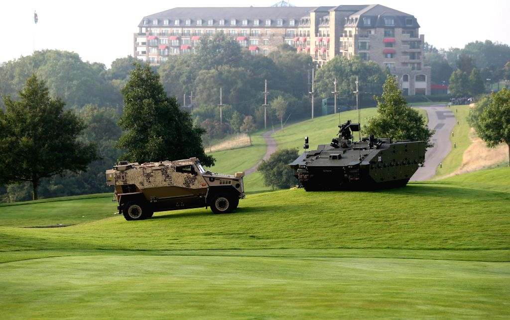 Photo taken on September 5, 2014 shows the interior of the Celtic Manor at the NATO Summit 2014 in Newport, Wales, Britain. The North Atlantic Treaty Organisation ..