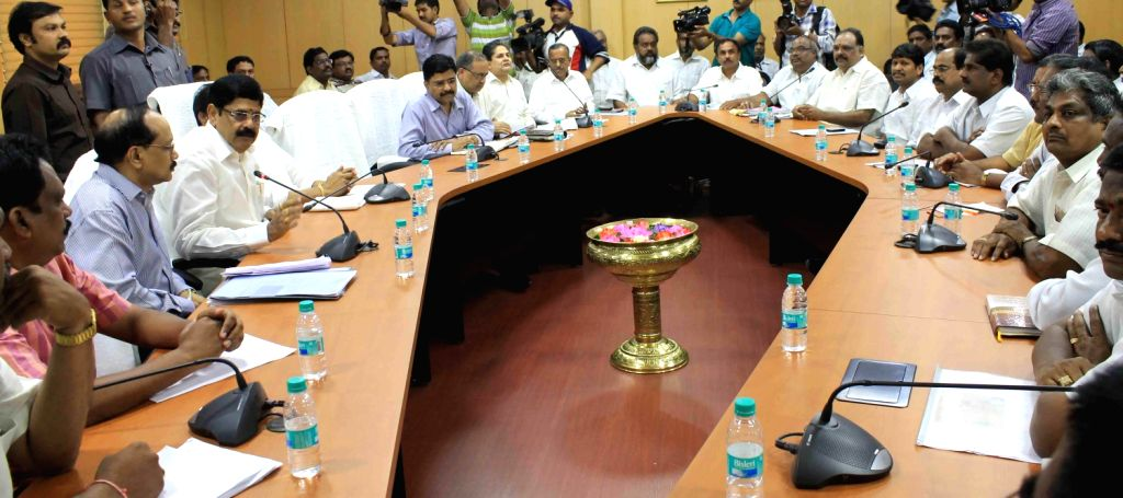 NGOs Leaders on strike held a discussion with Deputy Chief minister Raj Narshimma with Finance Minister Ram Narayan Reddy and Chief Secretary AK Manhanty at secretariat on August 14, 2013. (Photo::: . - Raj Narshimma and Narayan Reddy
