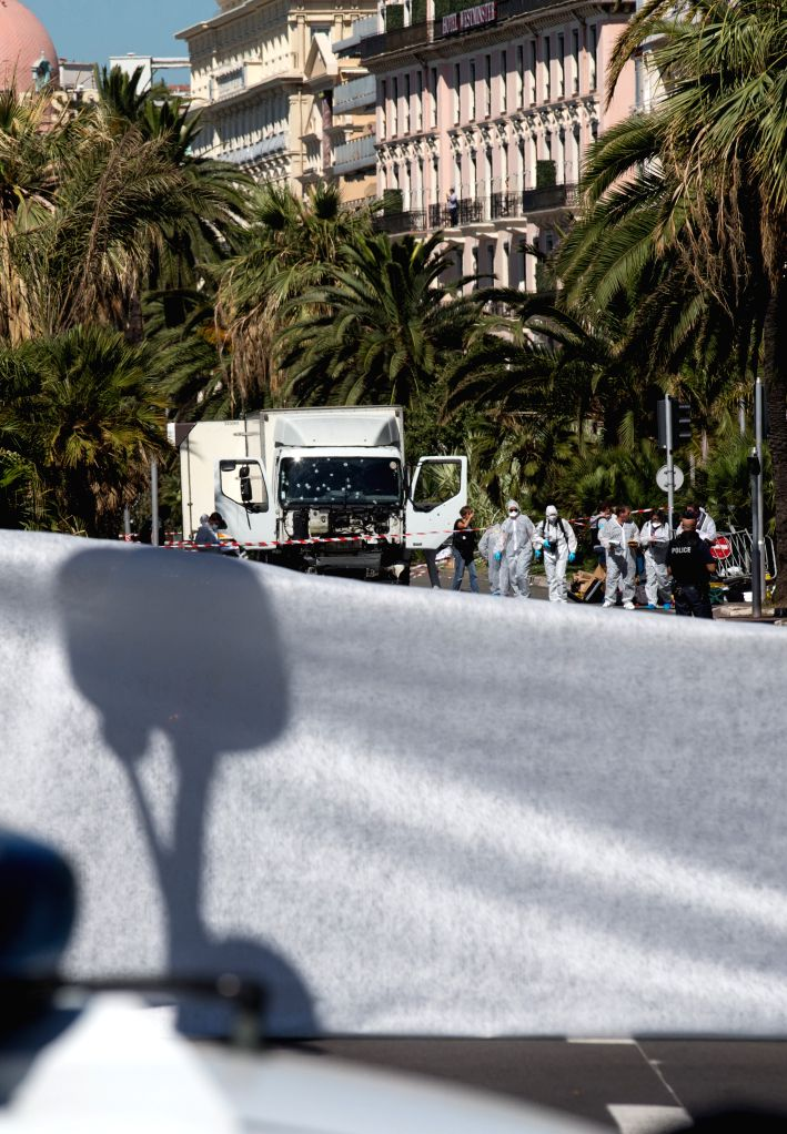 NICE, July 15, 2016 - The truck which ploughed into spectators is seen at the site of the terrorist attack in Nice, France, July 15, 2016. The death toll rises to 84 from an attack in which a truck ...