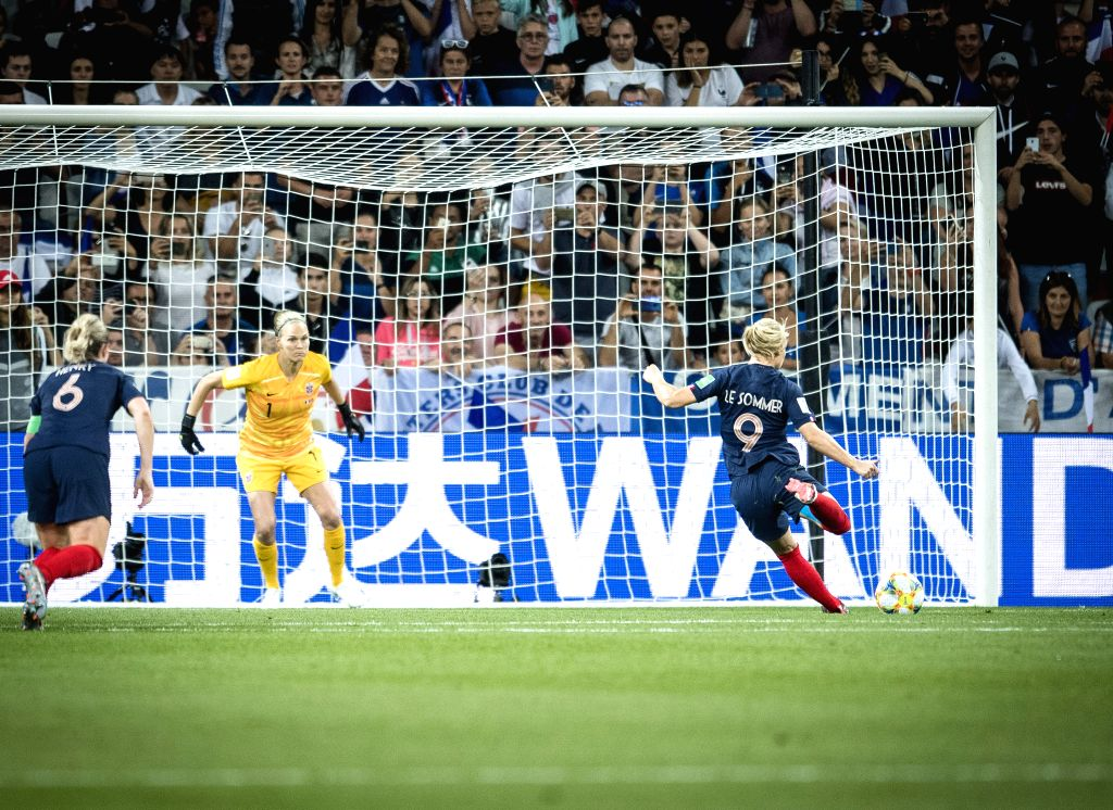 NICE, June 13, 2019 - Eugenie Le Sommer (R) of France kicks the ball during the group A match between France and Norway at the 2019 FIFA Women's World Cup in Nice, France on June 12, 2019. France won ...