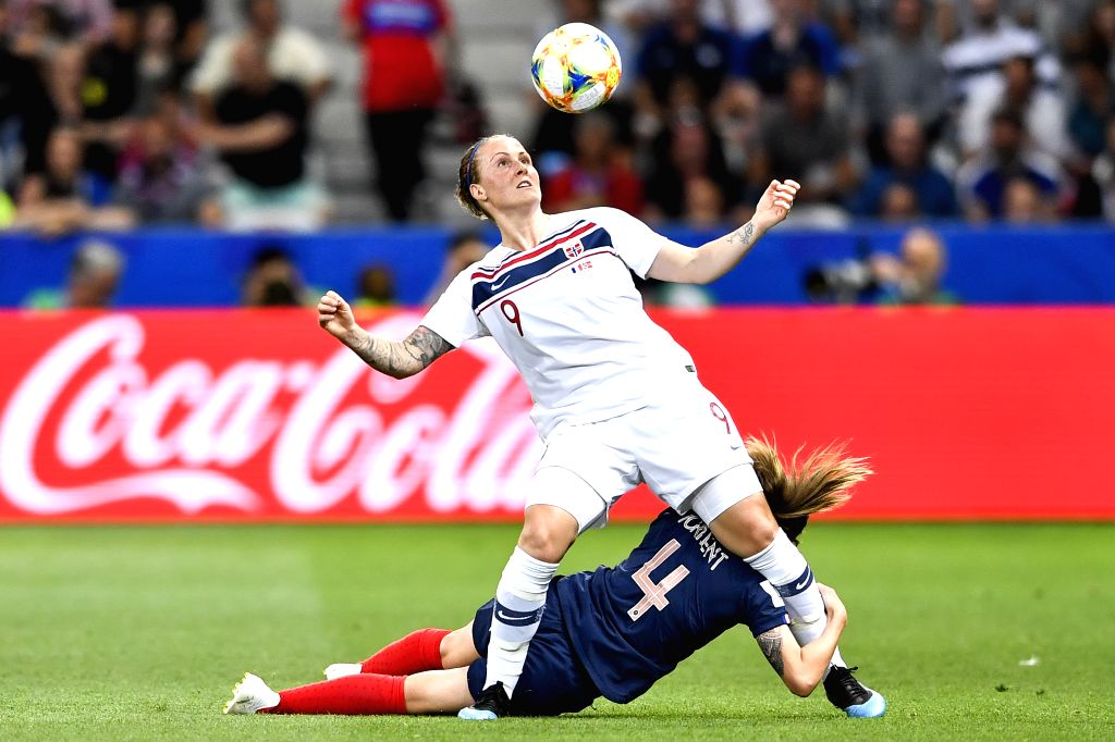 NICE, June 13, 2019 - Isabell Herlovsen (top) of Norway vies with Marion Torrent of France during the group A match between France and Norway at the 2019 FIFA Women's World Cup in Nice, France on ...
