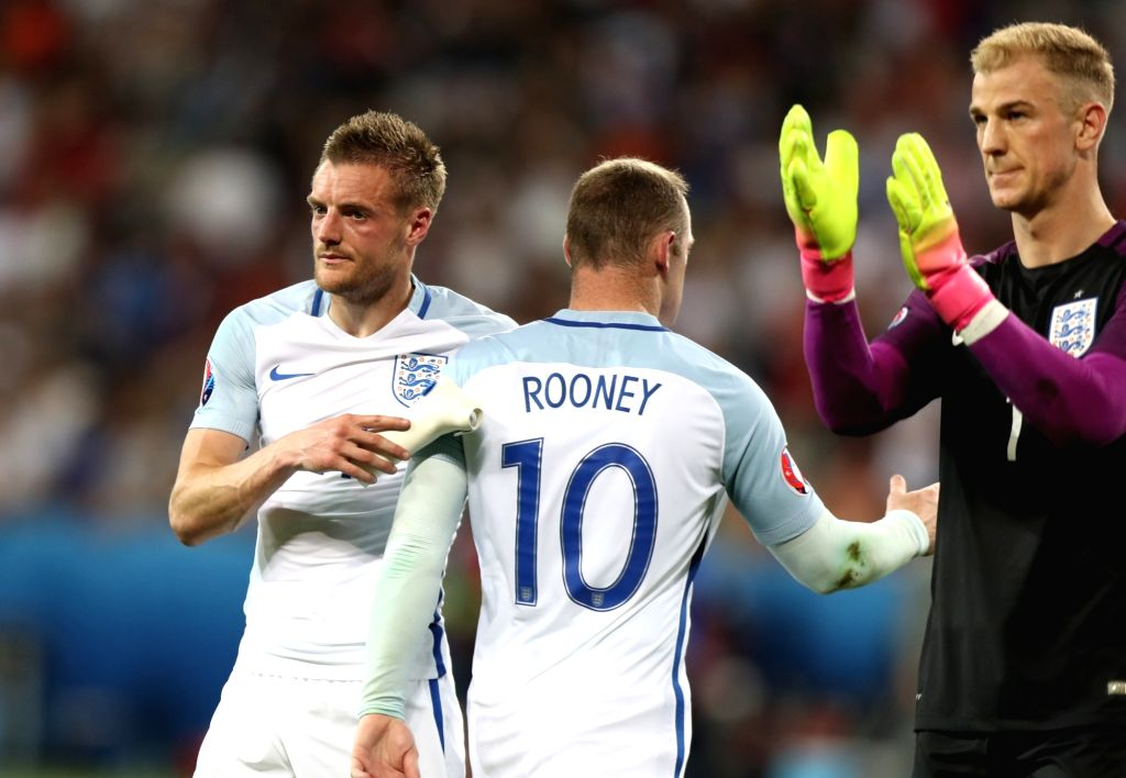 NICE, June 28, 2016 - England's Jamie Vardy(L), Wayne Rooney(C) and Joe Hart leave the pitch after the Euro 2016 round of 16 football match between England and Iceland in Nice, France, June 27, 2016. ...