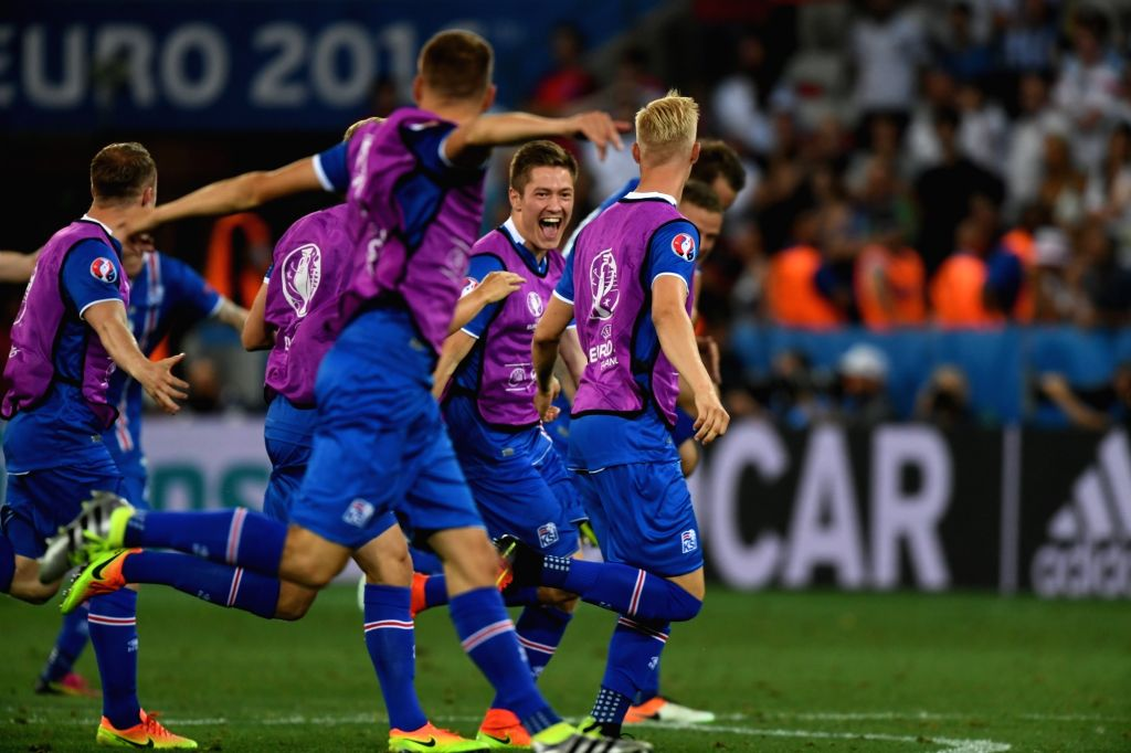 NICE, June 28, 2016 - Players of Iceland celebrate after winning the Euro 2016 round of 16 football match between England and Iceland in Nice, France, June 27, 2016. Iceland won 2-1.