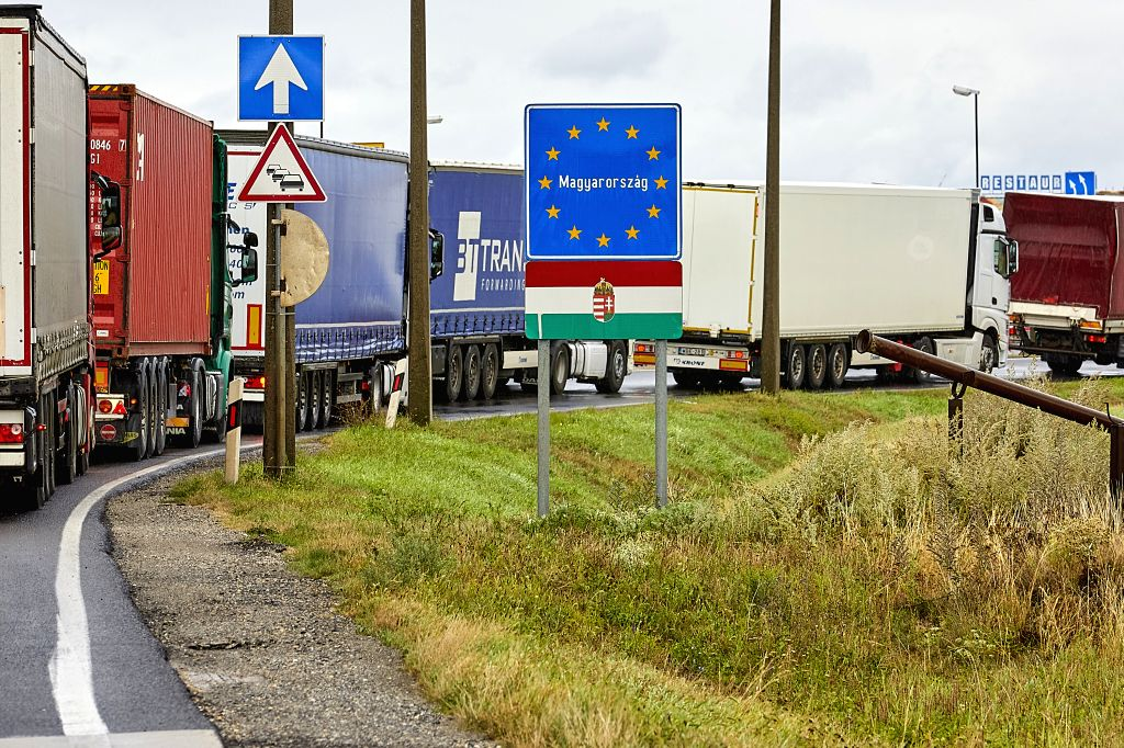 Nickelsdorf (Austria), Sept. 1, 2020 Vehicles wait to cross the border between Austria and Hungary in Nickelsdorf, Austria, on Sept. 1, 2020. Citizens of the fellow Visegrad Group (V4) ...