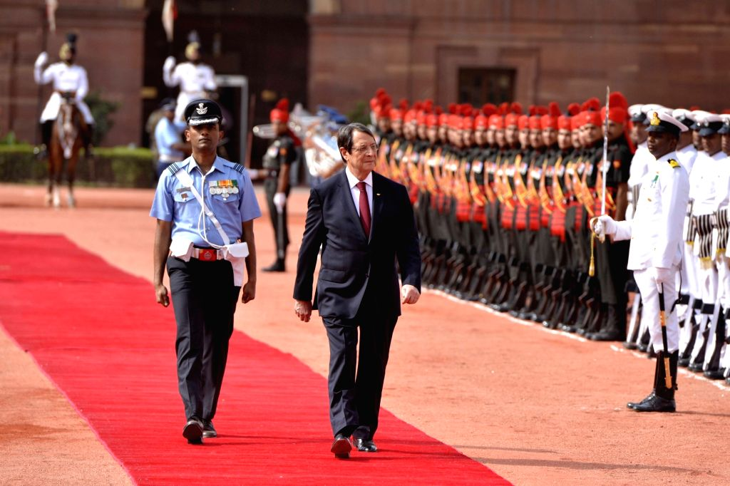 Nicos Anastasiades, President of the Republic of Cyprus inspecting the Guard of Honour during the ceremonial reception at Rashtrapati Bhavan, in New Delhi on April 28, 2017.