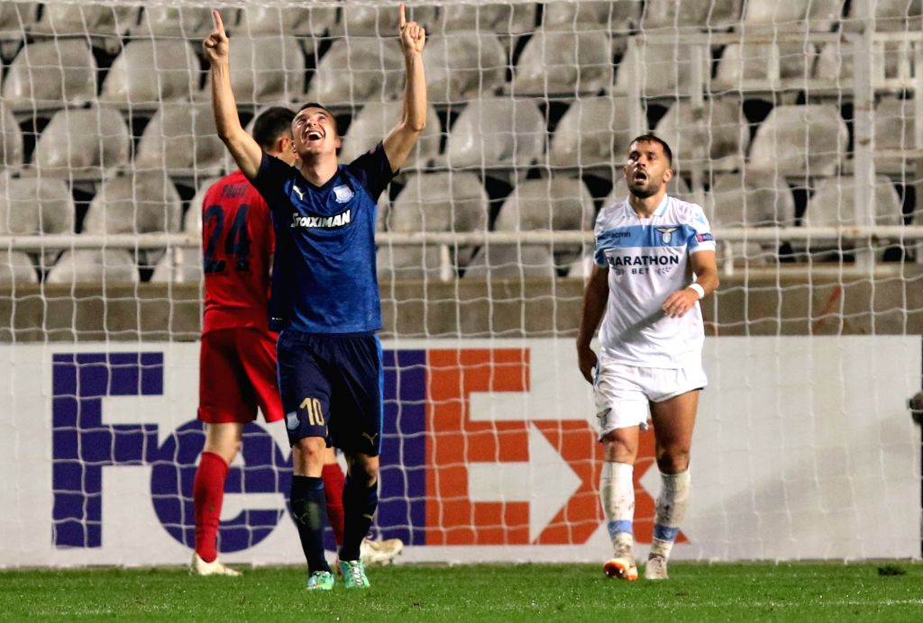 NICOSIA, Nov. 30, 2018 - Sasa Markovic (C) of Apollon celebrates after scoring during the UEFA Europe League Group H match match between Apollon and Lazio in Nicosia, Cyprus on Nov. 29, 2018. Apollon ...
