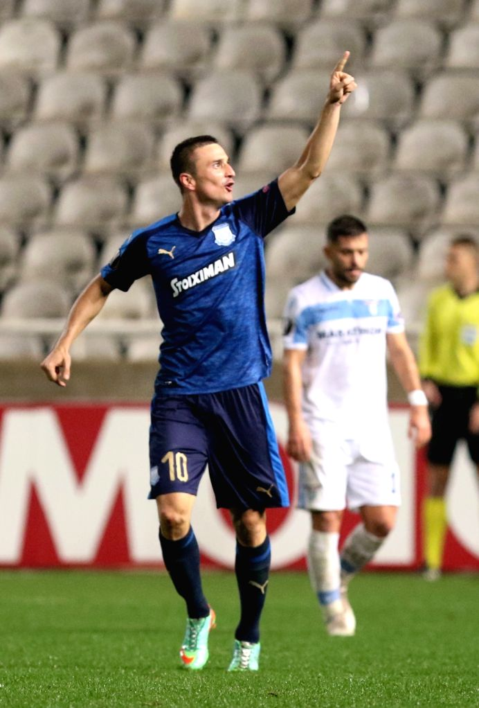 NICOSIA, Nov. 30, 2018 - Sasa Markovic of Apollon celebrates after scoring during the UEFA Europe League Group H match between Apollon and Lazio in Nicosia, Cyprus on Nov. 29, 2018. Apollon won 2-0.