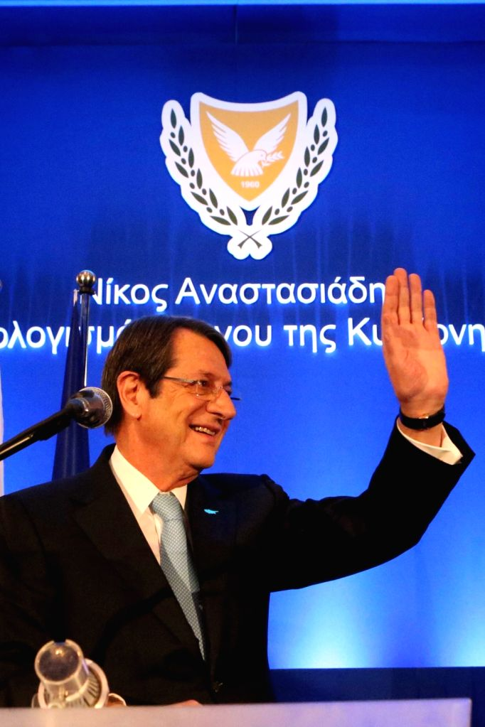 NICOSIA, Oct. 14, 2017 - Cypriot President Nicos Anastasiades waves during a gathering of ruling DISY party in Nicosia, Cyprus, Oct. 14, 2017. Cyprus' outgoing president Nicos Anastasiades said on ...