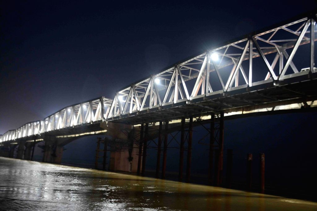 Night view of the rehabilitated western flank of the Mahatma Gandhi Setu over the Ganga river between Patna and Hajipur on the eve of its inauguration by Bihar Chief Minister Nitish Kumar ... - Nitish Kumar and Gandhi Setu