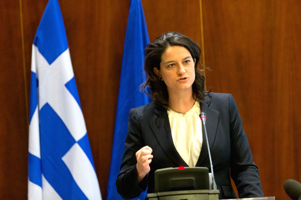 "Niki Kerameus, Greek Minister of Education and Religious Affairs, speaks during an event titled ""Building International Bridges: Opening Greek Universities to ..."