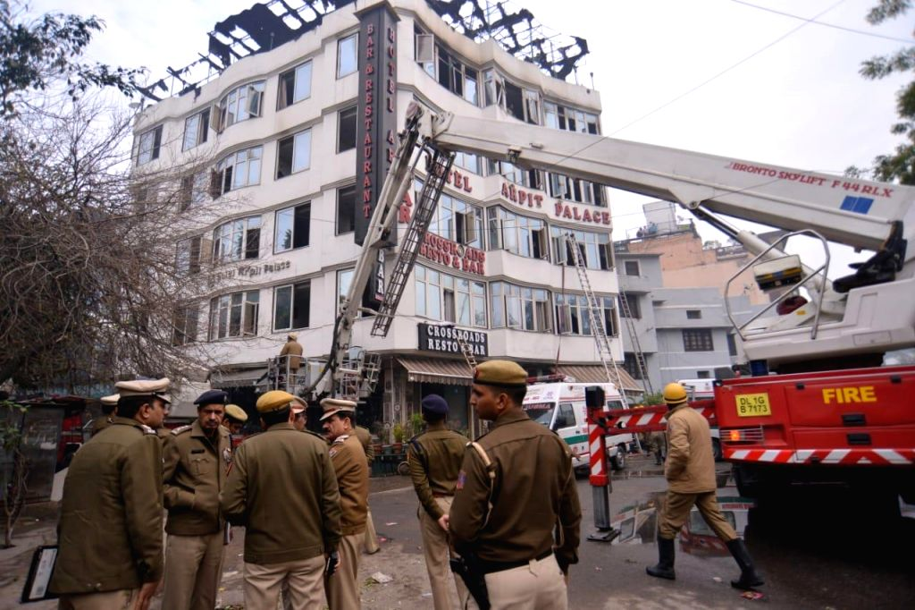Nine people died and three injured in a major fire that broke out in Karol Bagh's Arpit Palace Hotel on Feb 12, 2019. (Photo: IANS)