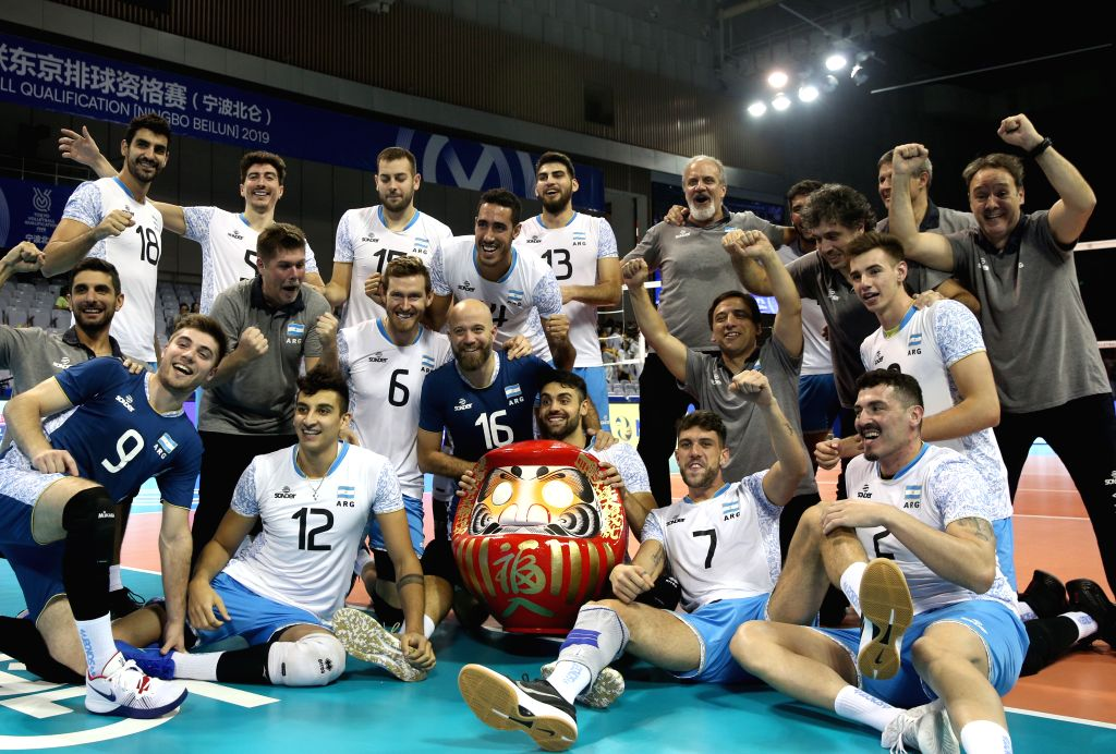 NINGBO, Aug. 11, 2019 - Team Argentina pose for pictures after the men's Pool F match against China at the 2019 FIVB Tokyo Volleyball Qualification in Ningbo, east China's Zhejiang Province, Aug. 11, ...
