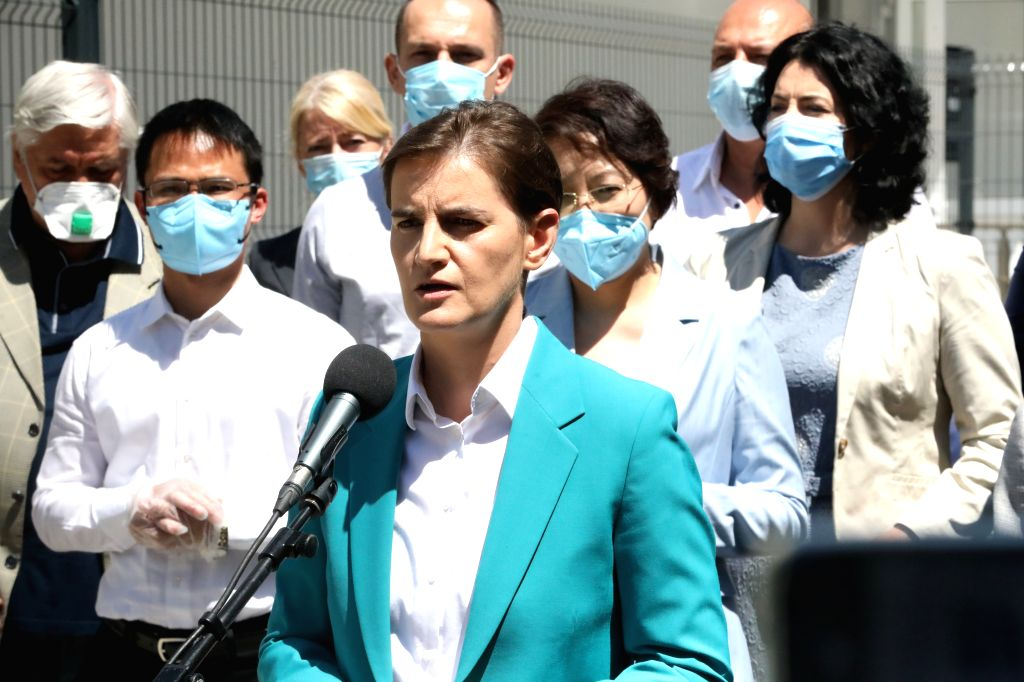 Nis (Serbia), July 30, 2020 Serbian Prime Minister Ana Brnabic (Front) speaks at the opening ceremony of a new Fire Eye laboratory in Nis, southeastern Serbia, on July 30, 2020. The new ... - Ana Brnabic