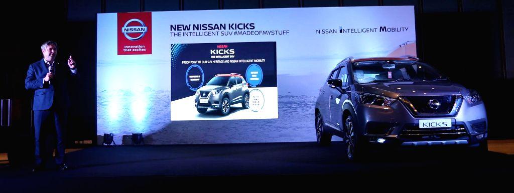 Nissan India President (Operations) Thomas Kuehl addresses at the launch of Nissan Kicks SUV in Kolkata, on Jan 23, 2019.
