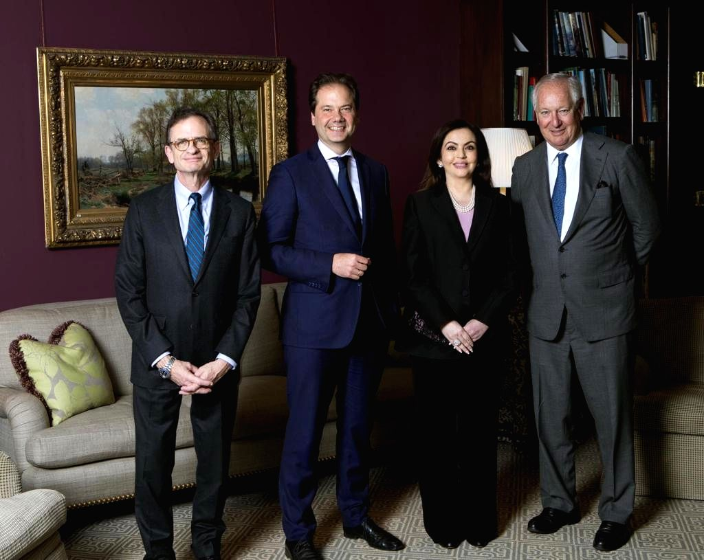 Nita Ambani, Founder and Chairperson of Reliance Foundation joined by Metropolitan Museum of Art leadership-- Mr. Daniel Brodsky, Chairman of the Board; Daniel Weiss, President & CEO; and Max Hollein, Director, on the occasion of her election to the  - Nita Ambani