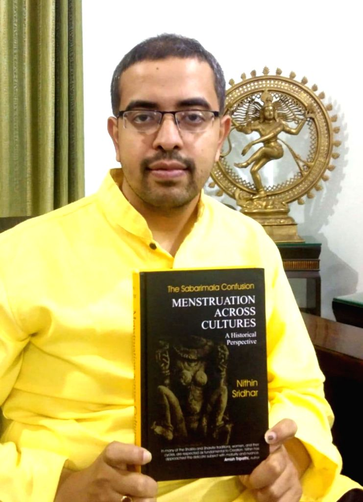 """Nithin Sridhar, Hindu scholar and author of """"Menstruation Across Cultures -A Historical Perspective, in Agra on May 21, 2019. According to the scholar, menstruation should not be ..."""