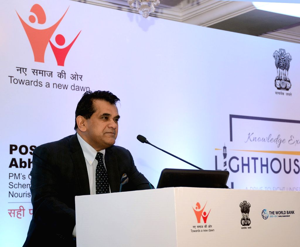 NITI Aayog CEO Amitabh Kant addresses at 'Lighthouse India', a drive to fight under-nutrition, as part of the POSHAN Abhiyan in New Delhi, on Feb 4, 2019.