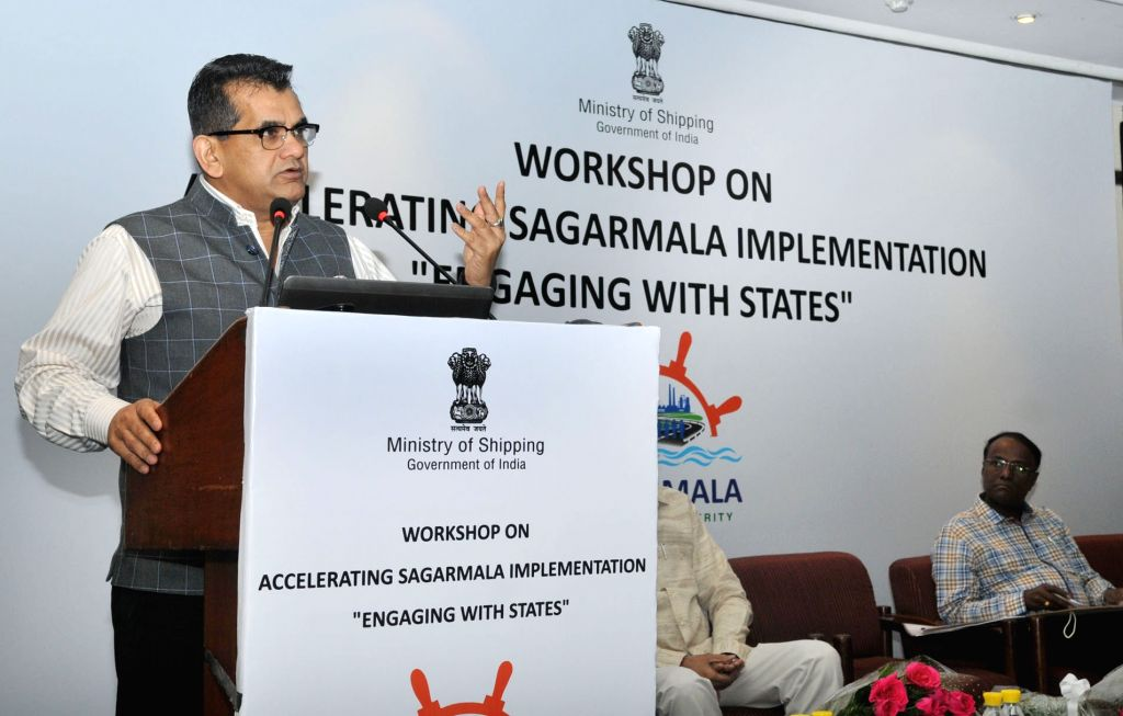 NITI Aayog CEO Amitabh Kant addresses at a workshop titled 'Accelerating Sagarmala Implementation – Engaging with States', under Aegis of Sagarmala programme in New Delhi on June 9, 2017.